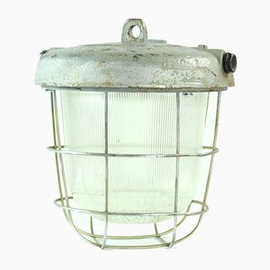 Industrial Metal and Glass Ceiling Lamp, 1950s