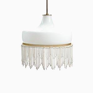 Weiße Deckenlampe aus Opalglas, 1950er