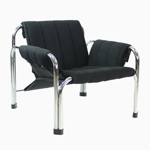 Black Fabric and Chrome Lounge Chair by Jaroslav Hreščák for Kodreta, 1980s