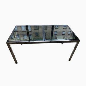 Mesa de comedor italiana de vidrio y cromo, años 70