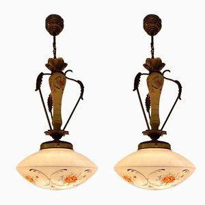 Deckenlampe aus Metall und Glas aus der Mitte des Jahrhunderts, 2er-Satz