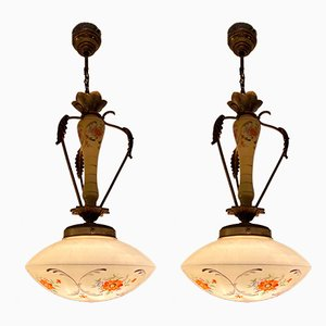 Mid-Century Metal and Glass Ceiling Lamp, Set of 2