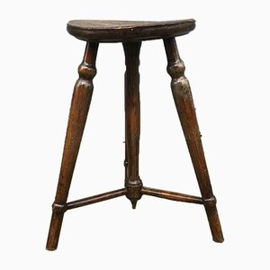 Antique Danish Oak Stool, 1900s