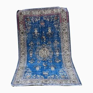 Vintage Turkish Blue Oushak Rug from Vintage Pillow Store Contemporary, 1970s