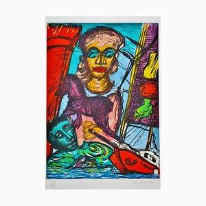 Calvacade Troyenne Suite des Odyssées d'Hénok, Lithographie par Malcolm Morley, années 80
