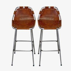 Mid-Century Leather Bar Stools by Charlotte Perriand, 1960s, Set of 2