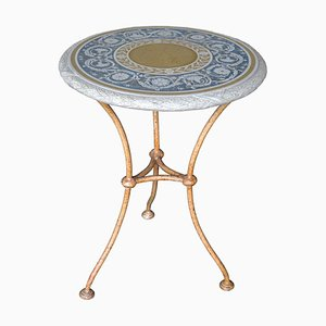 Italian Iron Decorative Scagliola Art Side Table by Cupioli