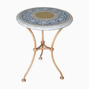Italian Iron Decorative Scagliola Art Side Table by Cupioli