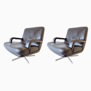 Leather Lounge Chairs by Bernd Münzebrock for Walter Knoll / Wilhelm Knoll, 1970s, Set of 2