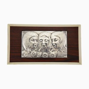 Mid-Century Sterling Silver Singing Girls Wall Pane from Ottaviani, 1960s