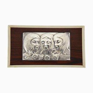 Pannello decorativo da parete Singing Girls Mid-Century in argento Sterling di Ottaviani, anni '60