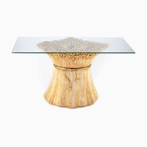 Mesa de comedor italiana de cerámica dorada y vidrio, años 80