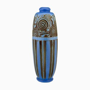Vaso Art Déco in ceramica blu di Gaston Ventrillon per Mougin Frères, Francia, anni '30