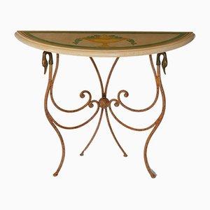 Consola italiana a la scagliola de mármol color beige envejecido y hierro forjado de Cupioli