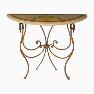 Italian Beige & Rusty Color Marble and Wrought Iron Scagliola Art Console by Cupioli