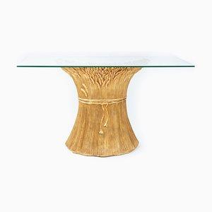 Italienischer Konsolentisch aus goldener Keramik mit Glasplatte, 1980er