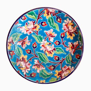 Colorful Plate from Longwy, 1930s