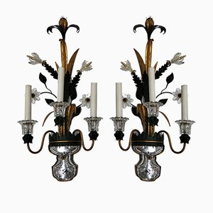 Vintage Glass and Metal Sconce from Banci