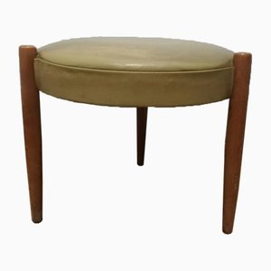 Vintage Scandinavian Leatherette and Wood Stool, 1960s