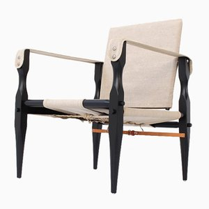 Mid-Century Danish Linen and Leather Safari Chair by Kaare Klint, 1960s