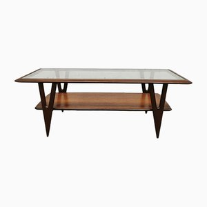 Italian Walnut and Glass Coffee Table, 1950s