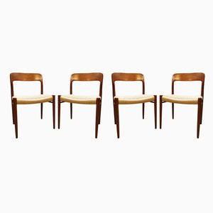 Mid-Century Danish Model 75 Dining Chairs by Niels O. Moller for Møller Mobelfabrik, Set of 4