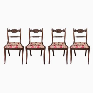 Antique Regency Carved Mahogany Dining Chairs, Set of 4