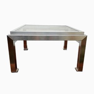 Stainless Steel Coffee Table by Guy Lefevre for Maison Jansen, 1970s