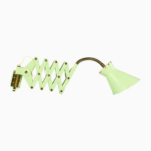 Lime Green Brass Scissor Wall Light from SIS, 1950s