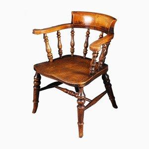 Antiker Schreibtischstuhl aus Ulmen- & Eschenholz