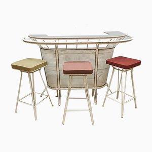 Mueble bar y taburetes franceses de hierro, años 50. Juego de 4