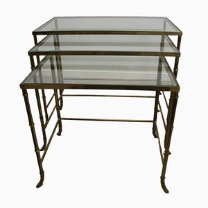 Brass Hollywood Nesting Tables by Maison Jansen, 1950s