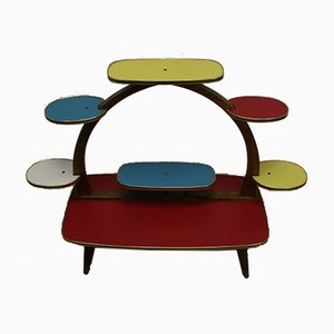 Mid-Century Colorful Etagere Planter Table