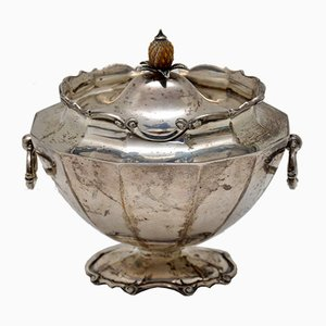 Scatola da tè edoardiana antica in argento massiccio