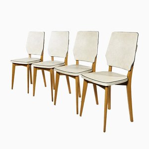 French Beech and Vinyl Side Chairs, 1950s, Set of 4