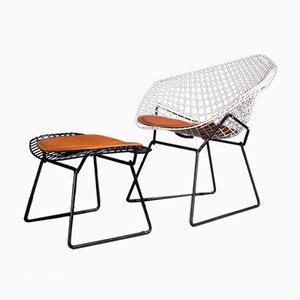 Diamond Chair & Fußhocker Set von Harry Bertoia für Knoll Inc. / Knoll International, 1950er