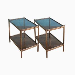 Französische Beistelltische aus Messing & Glas, 1960er, 2er Set