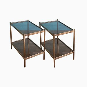 French Brass and Glass Side Tables, 1960s, Set of 2