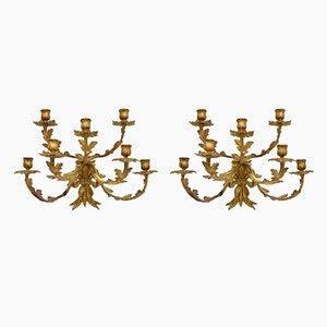 Antike Wandkerzenhalter aus vergoldeter Bronze, 2er Set