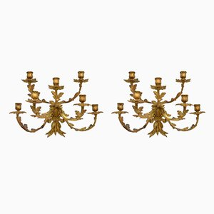 Antique Gilt Bronze Wall-Mounting Candleholders, Set of 2