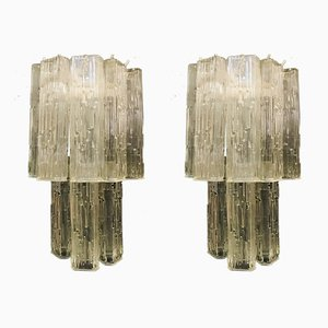 Large Mid-Century Glass Tube Sconces, 1970s, Set of 2