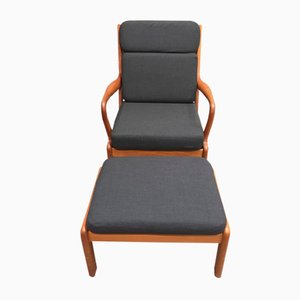 Modernes Sessel & Fußhocker Set aus Teak, 1950er