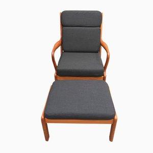 Scandinavian Modern Teak Lounge Chair and Ottoman Set, 1950s