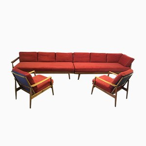 Sofa and Armchairs Set, 1950s