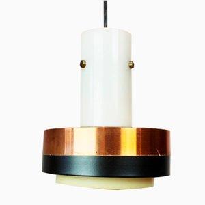 Lampe à Suspension en Cuivre et Palissandre, années 60