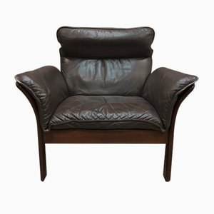 Scandinavian Brown Leather Lounge Chair, 1960s