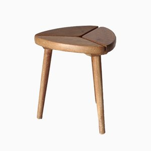 Scandinavian Tripod Pinewood and Beech Stool, 1950s