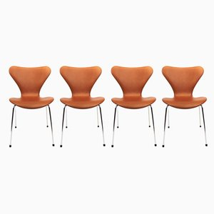 Cognac Leather Model 3107 Dining Chairs by Arne Jacobsen for Fritz Hansen, 1980s, Set of 4
