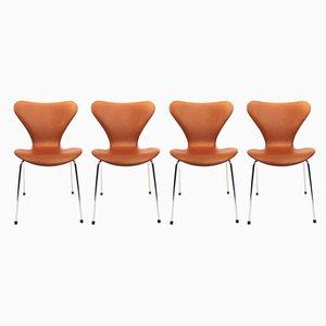 Modell 3107 Esszimmerstühle mit cognacfarbenem Lederbezug von Arne Jacobsen für Fritz Hansen, 1980er, 4er Set