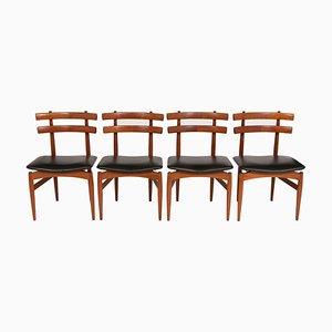 Chaises de Salle à Manger Modèle 30 en Teck et Cuir par Poul Hundevad pour Hundevad & Co., années 50, Set de 4
